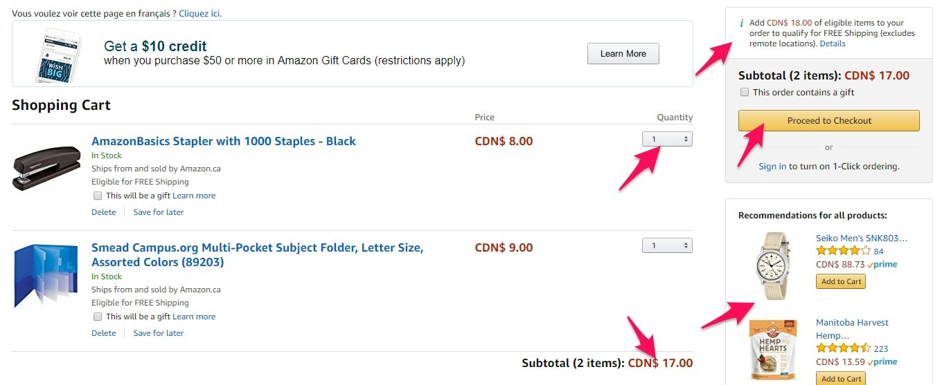Amazon cart page