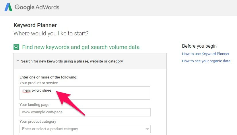 Product keyword research