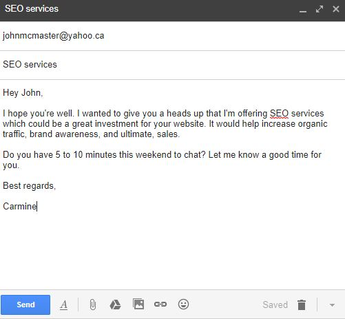 SEO cold email