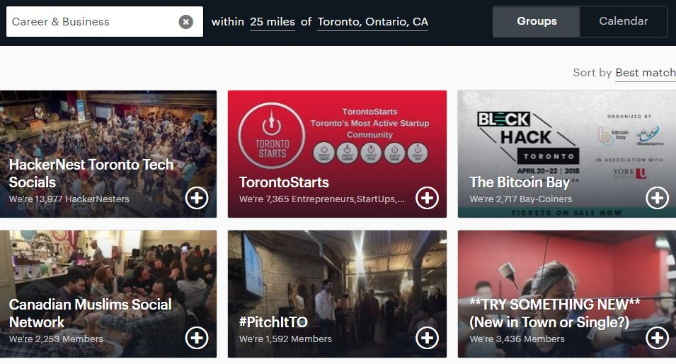 Toronto meetups for business