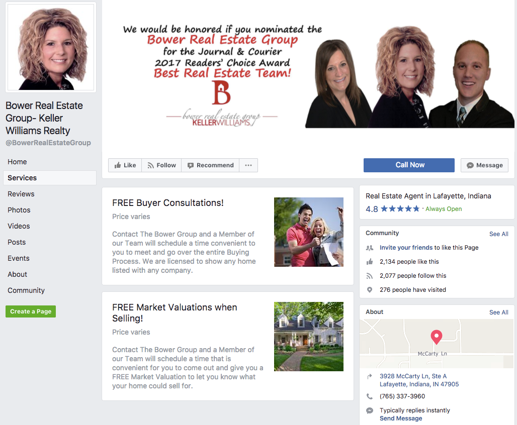 Facebook real estate page