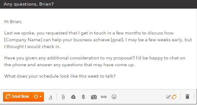 Hubspot follow up email template
