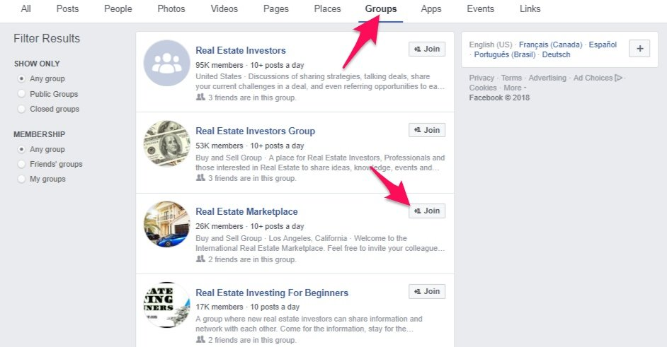 Facebook group real estate marketing