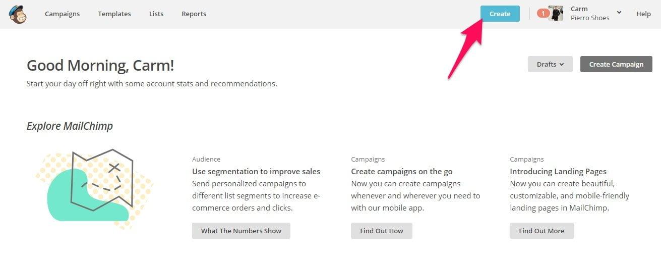 Create a Mailchimp email