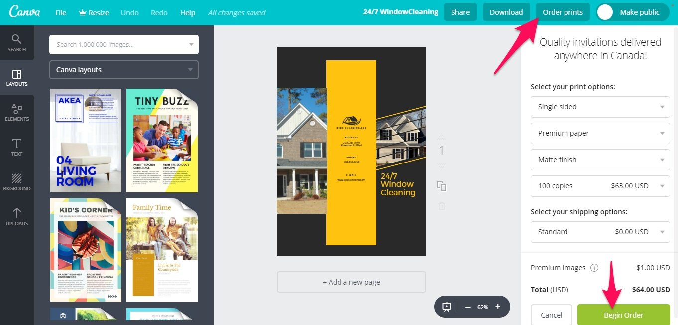 Buying prints from Canva