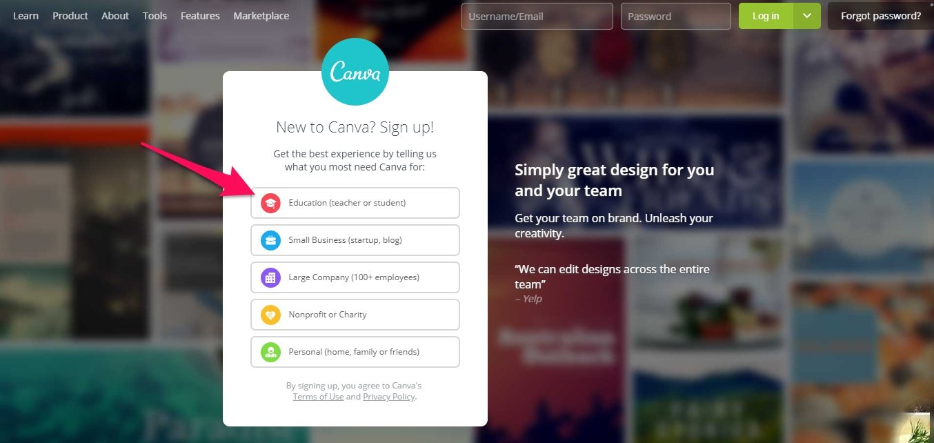 Signing up for Canva