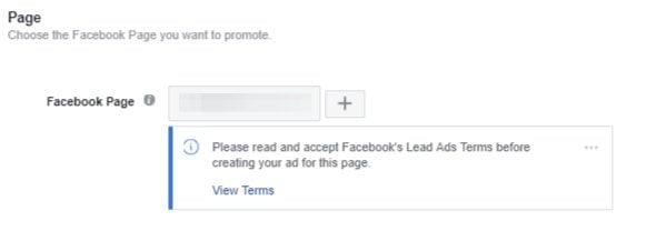 Facebook ad choose page