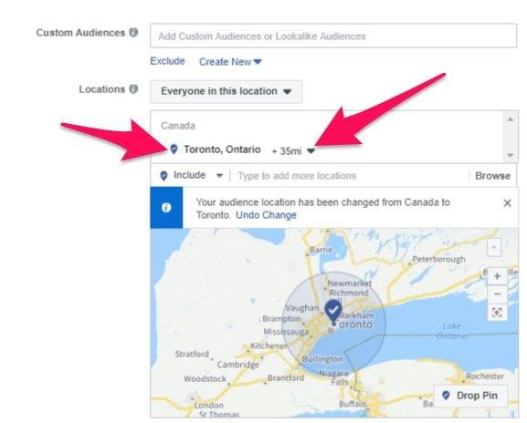 Facebook ad target