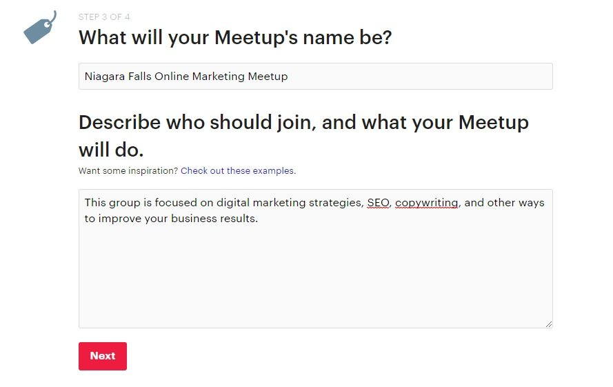 Setting the name and description for a Meetup group