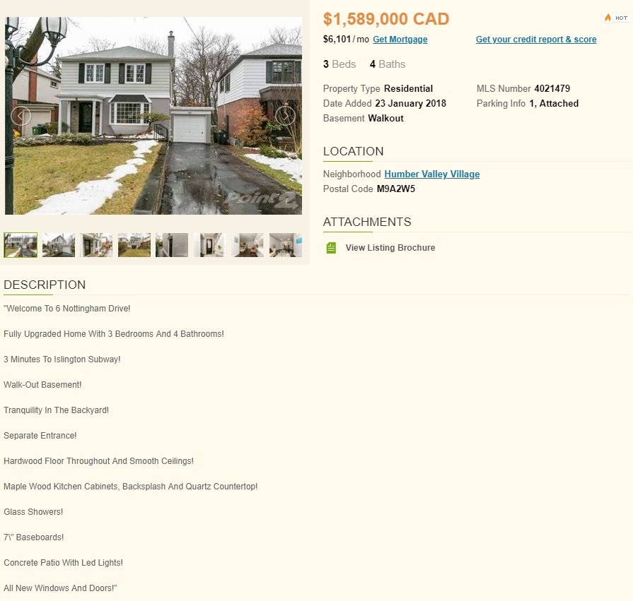 Real estate description example