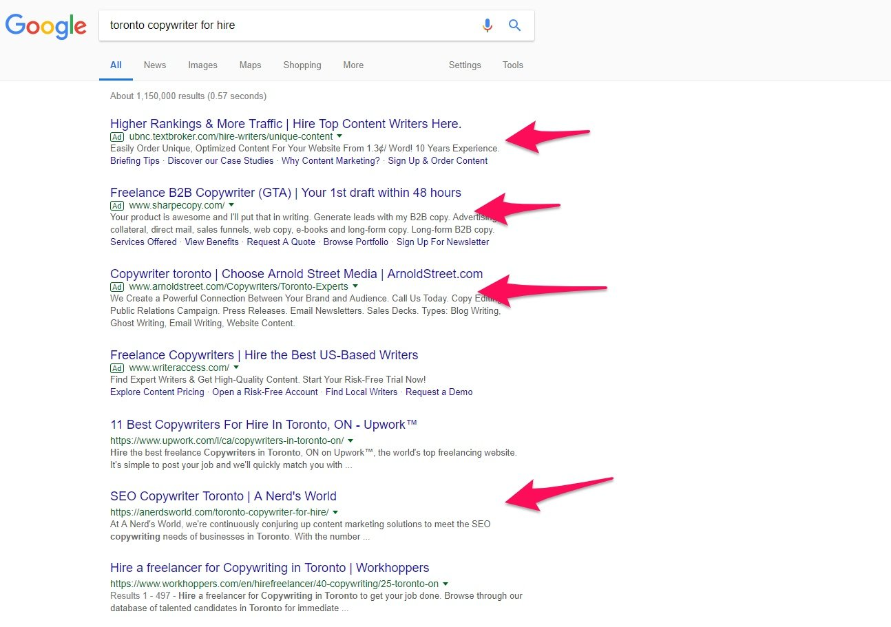Using Google to find copywriters