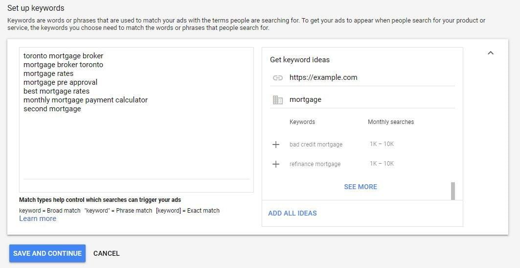 Ad keywords
