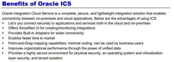 Benefits of Oracle ICS