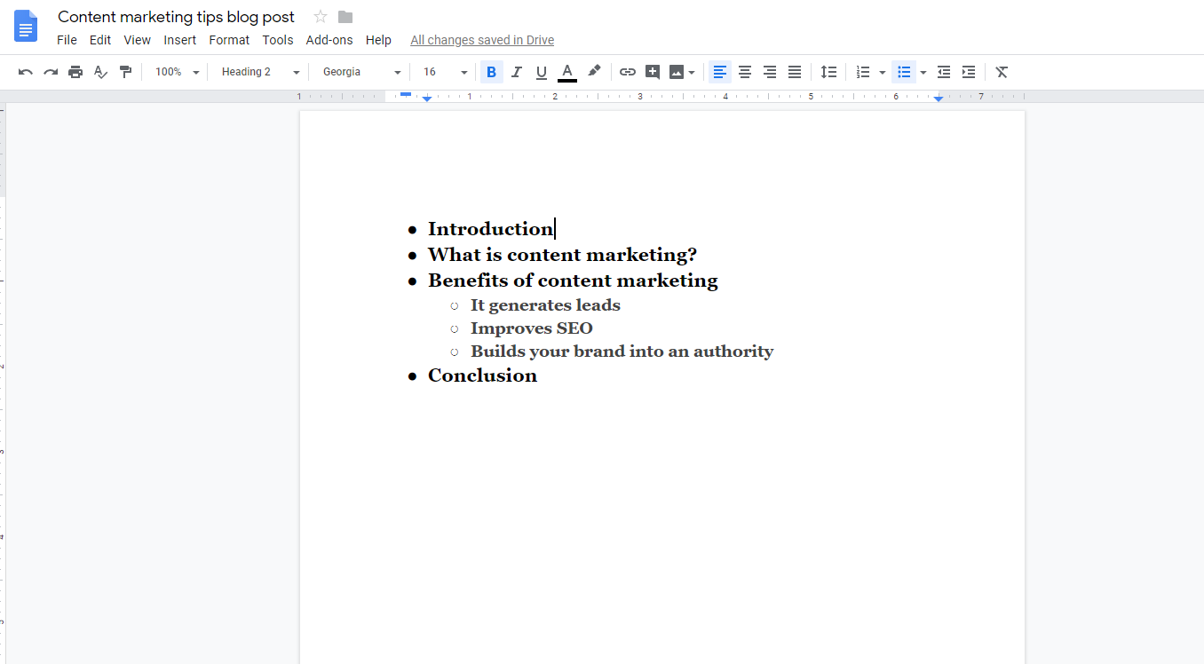 Blog post outline example