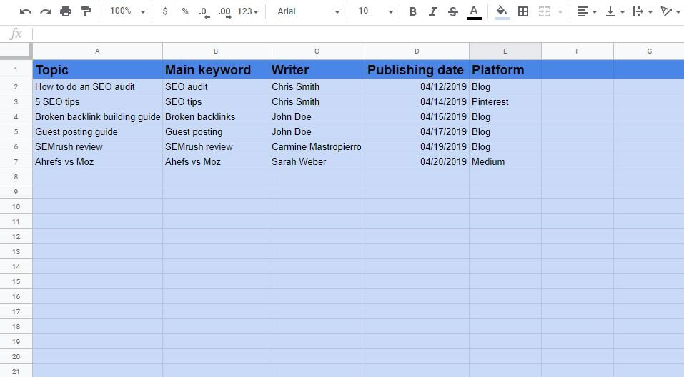 Content calendar example 1