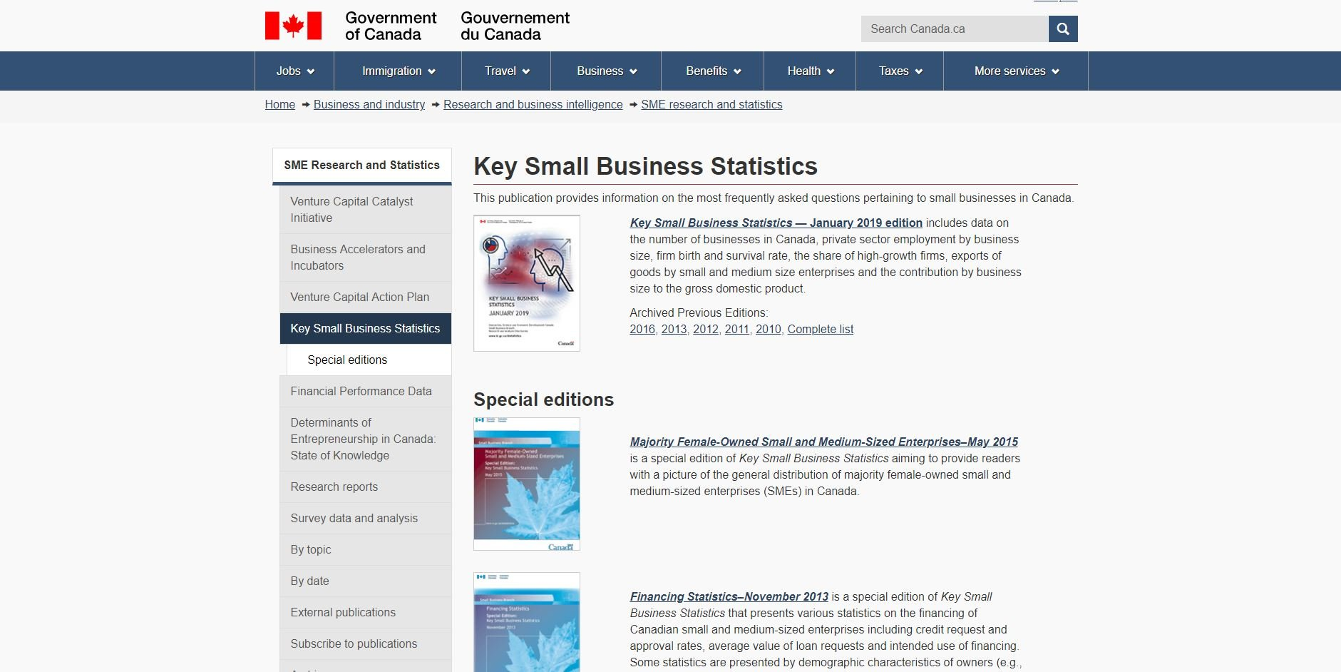 Government of Canada database