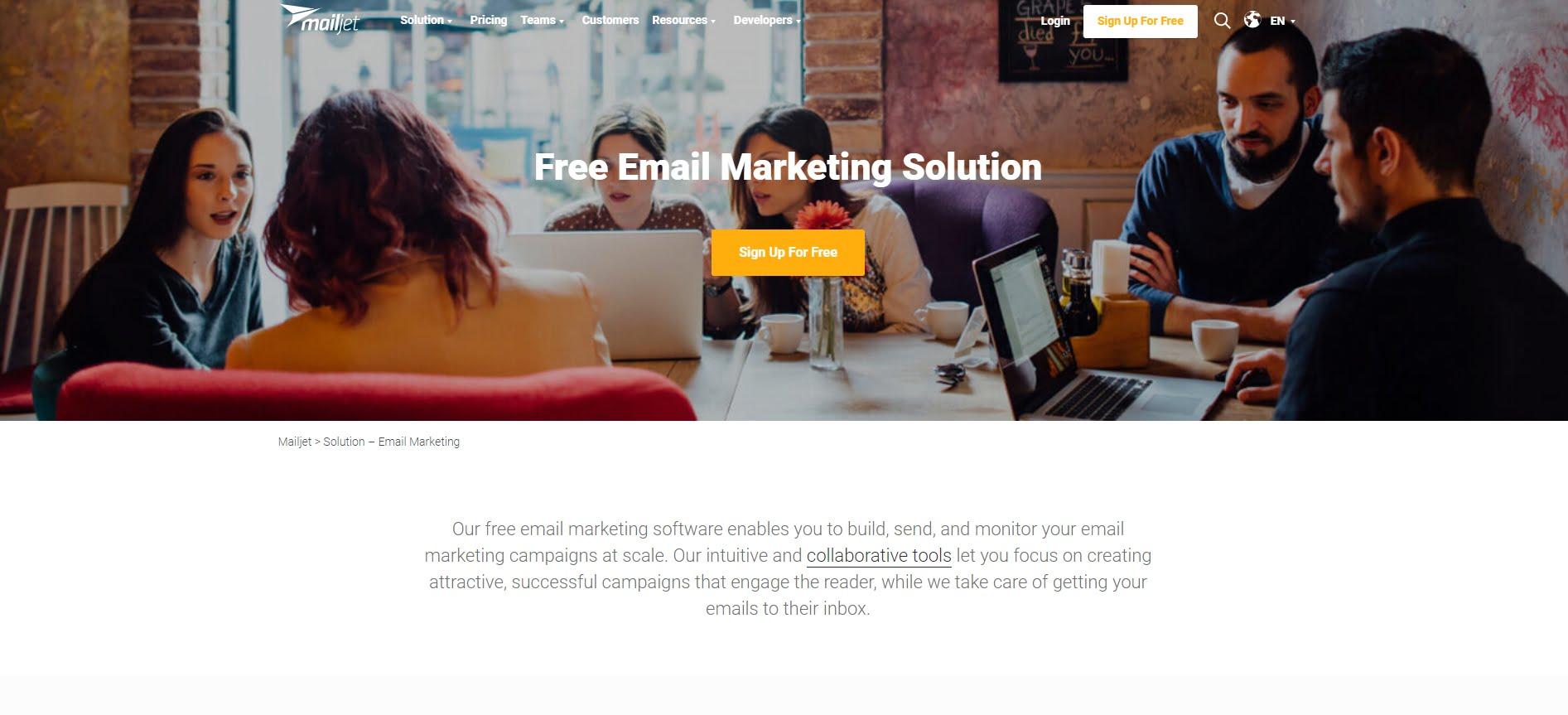 Mailjet homepage