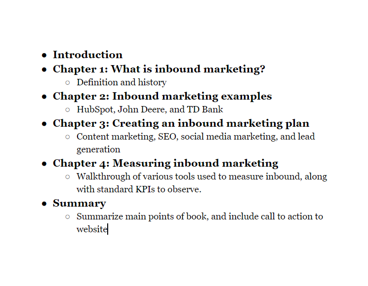 Book outline example