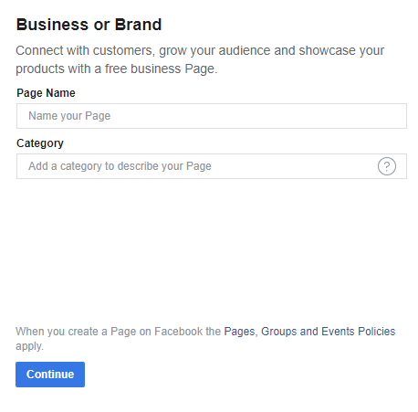 Business name for Facebook page