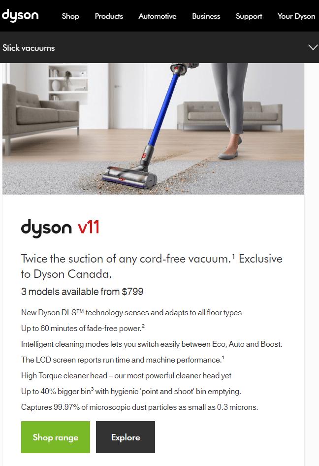 Dyson vacuum example