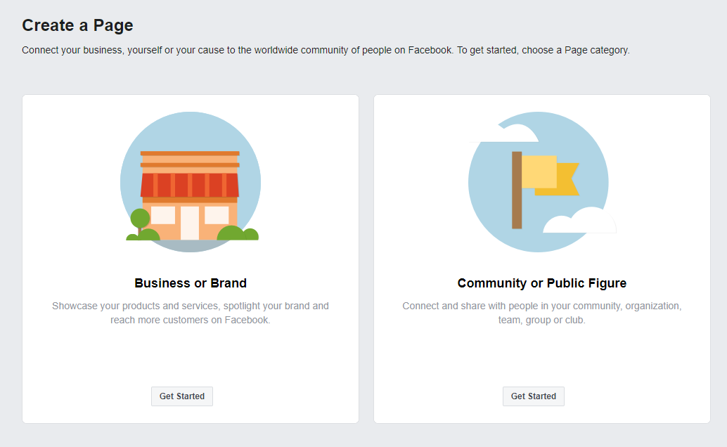 Facebook page options