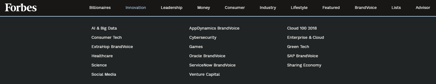 Forbes navigation example