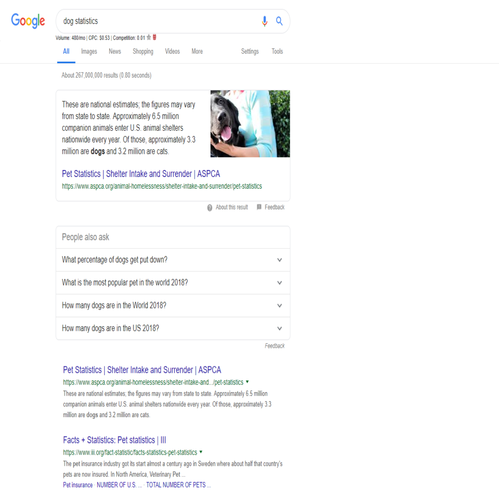 Google search for stats example