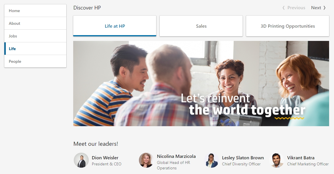 HP LinkedIn life page