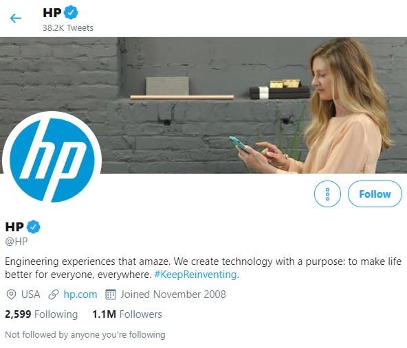 HP Twitter account
