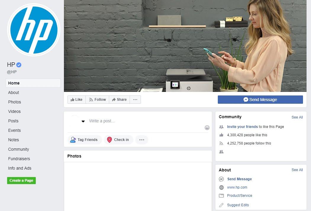 HP facebook page