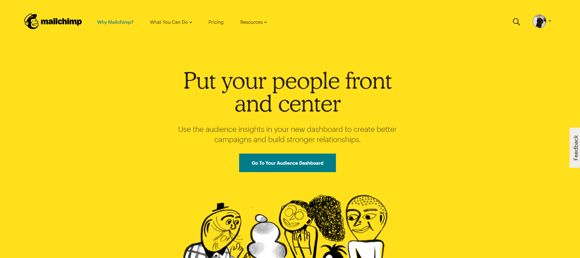 Homepage of Mailchimp