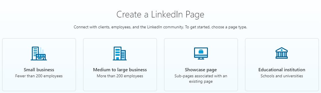 LinkedIn page options