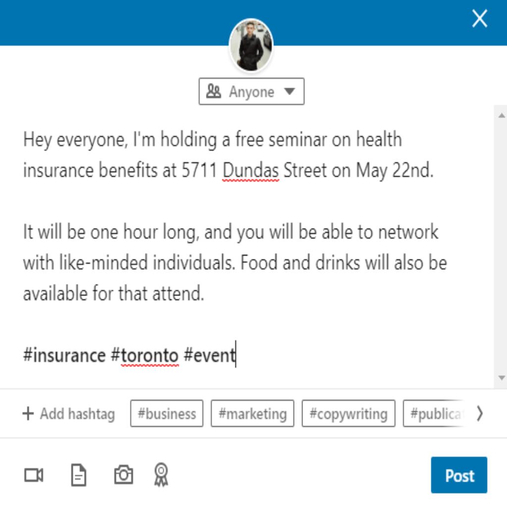LinkedIn promo example