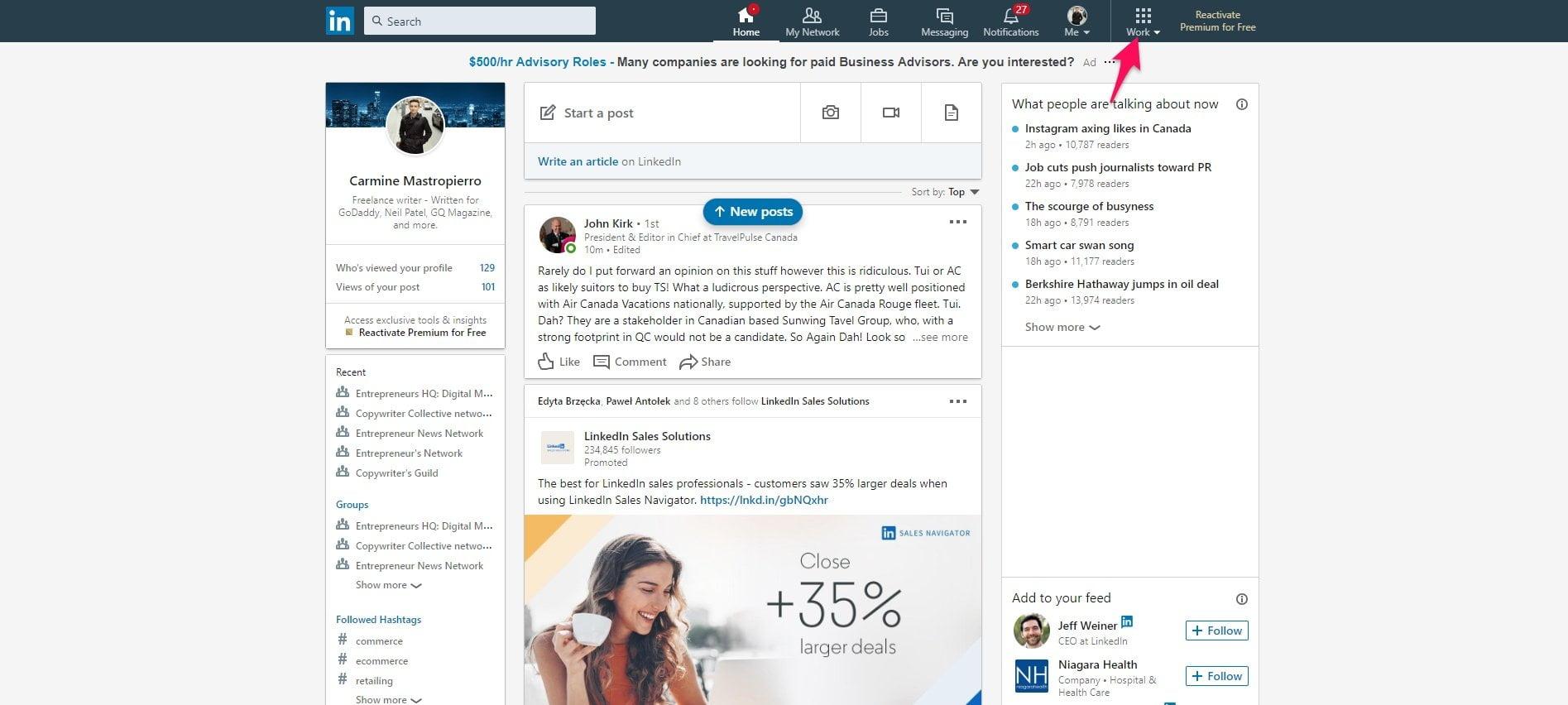 LinkedIn work tab