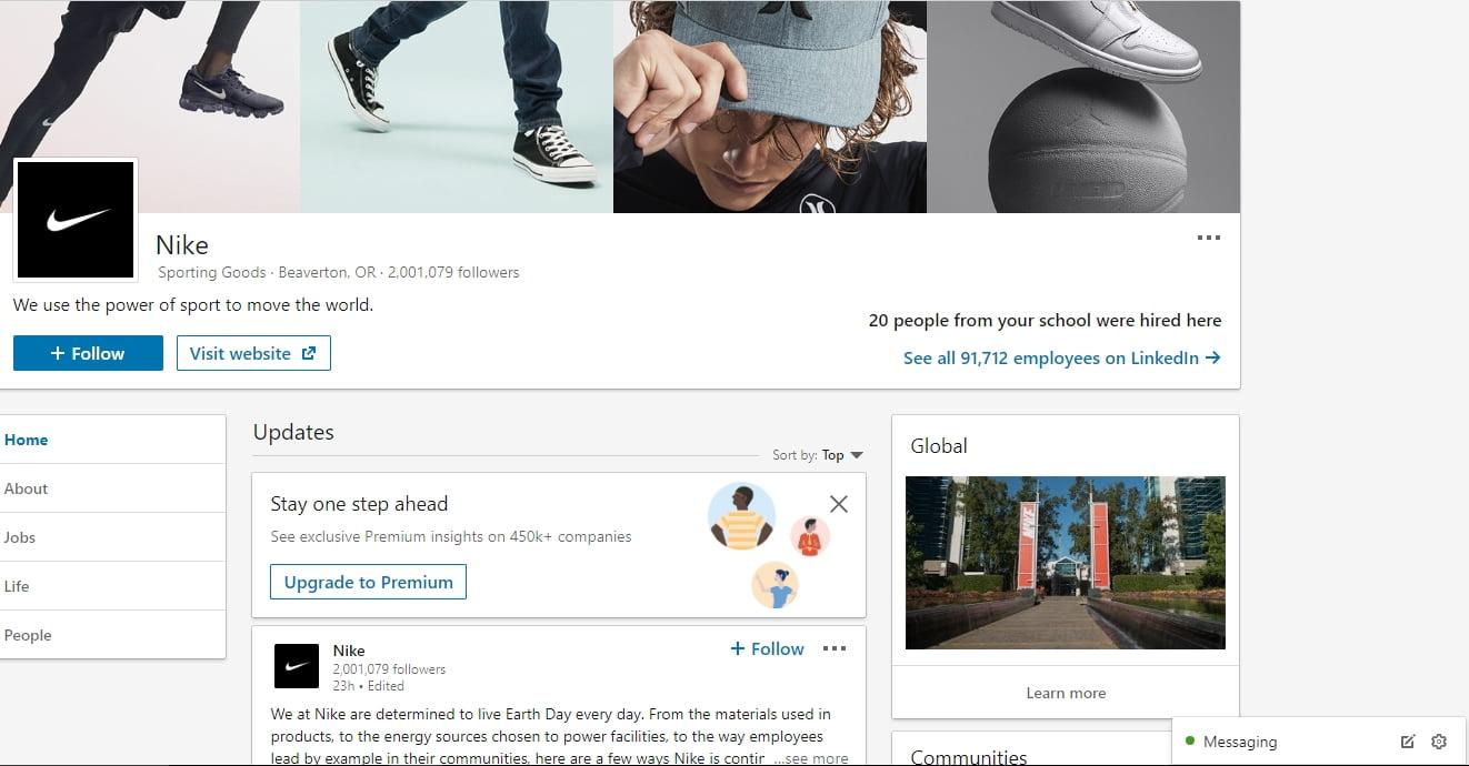 Nike LinkedIn page