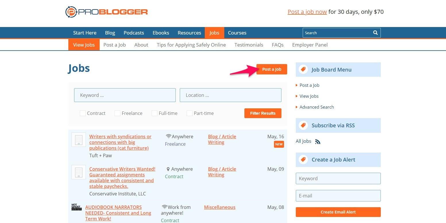 Posting job on ProBlogger