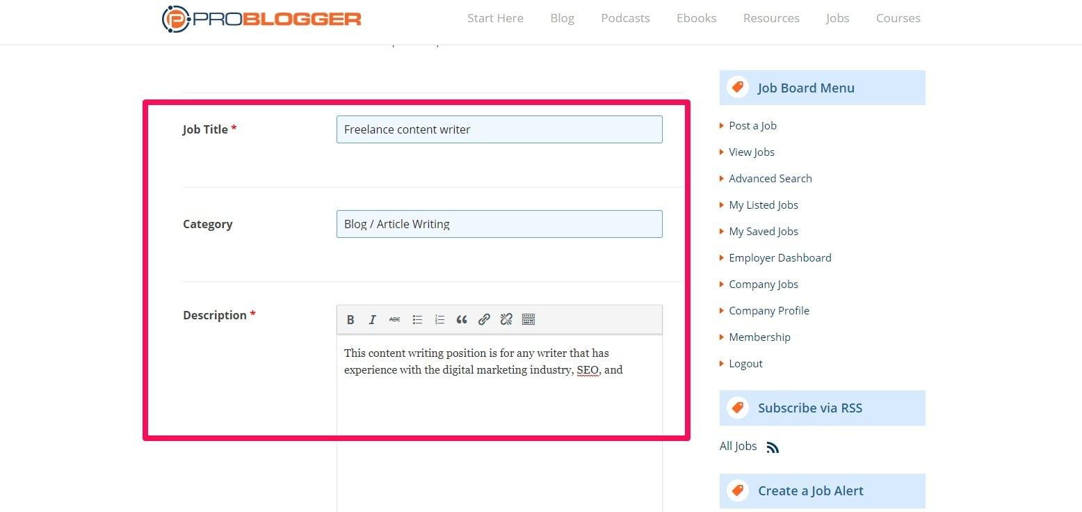 ProBlogger job info