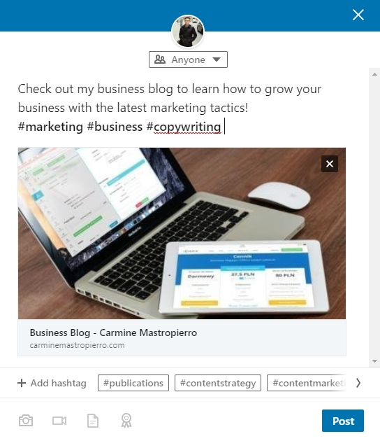Promoting content on LinkedIn