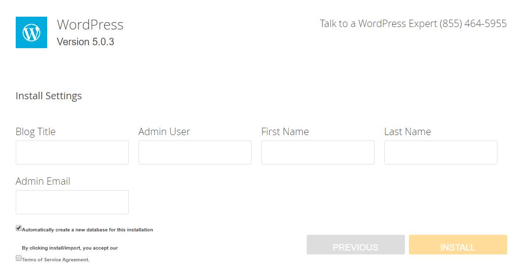 WordPress install data