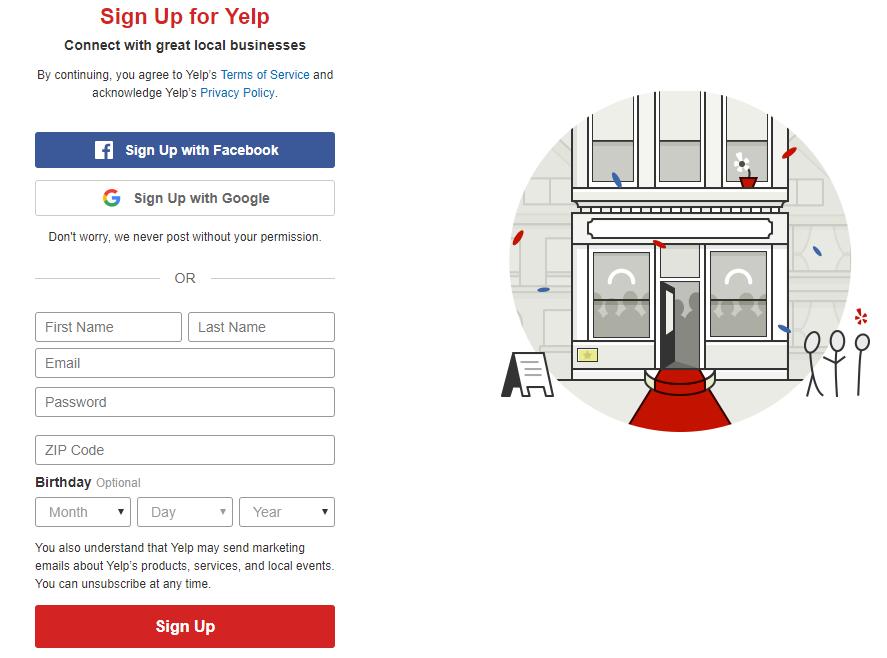 Yelp registration