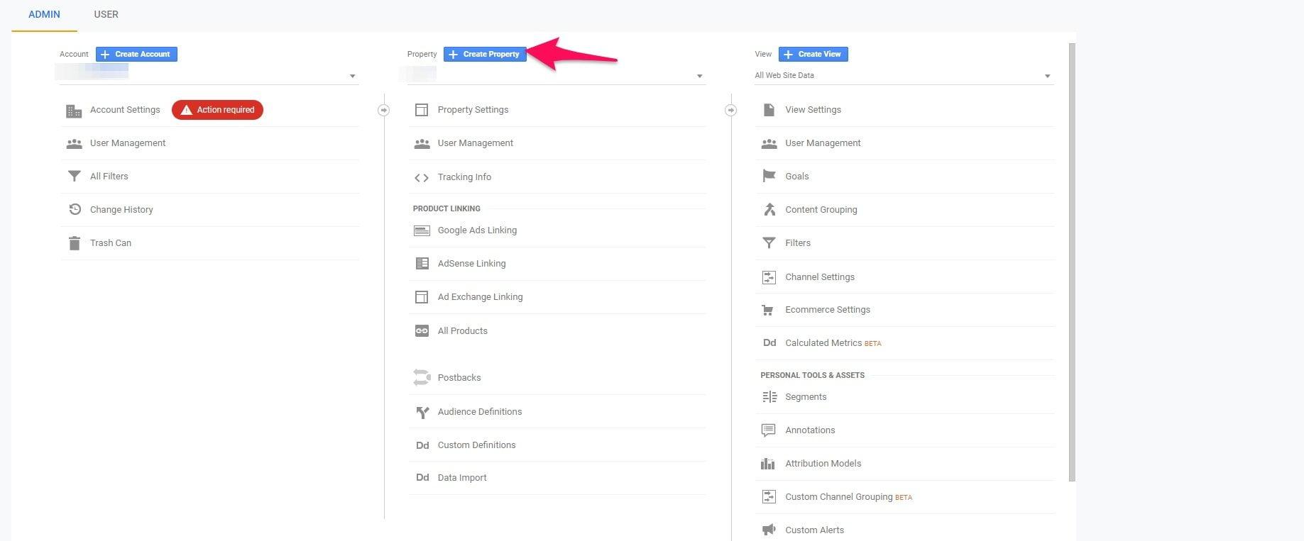 Creating a property on Google Analytics