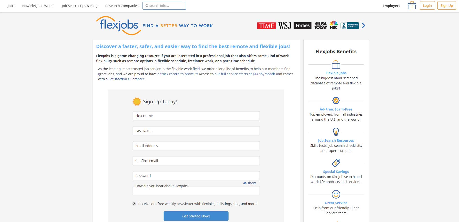FlexJobs sign up