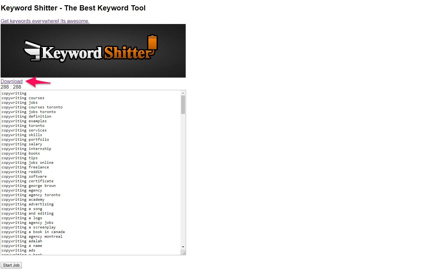 Keyword results