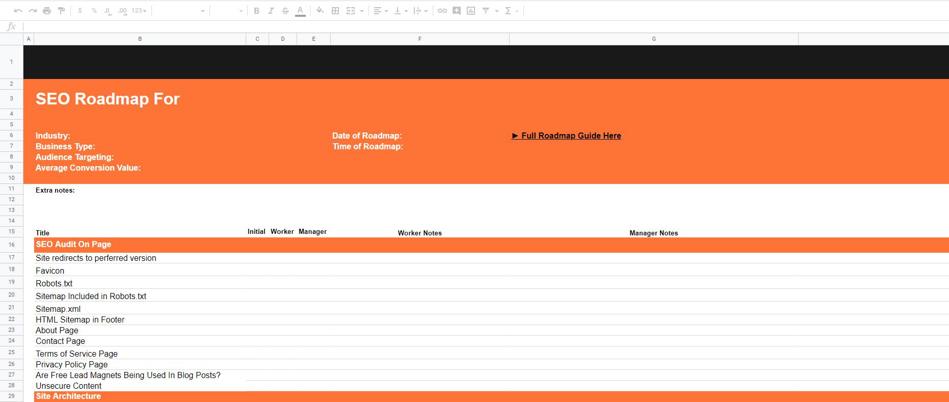 SEO audit spreadsheet