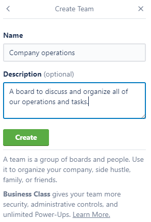 Trello create team