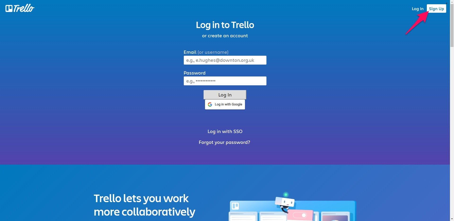Trello sign up