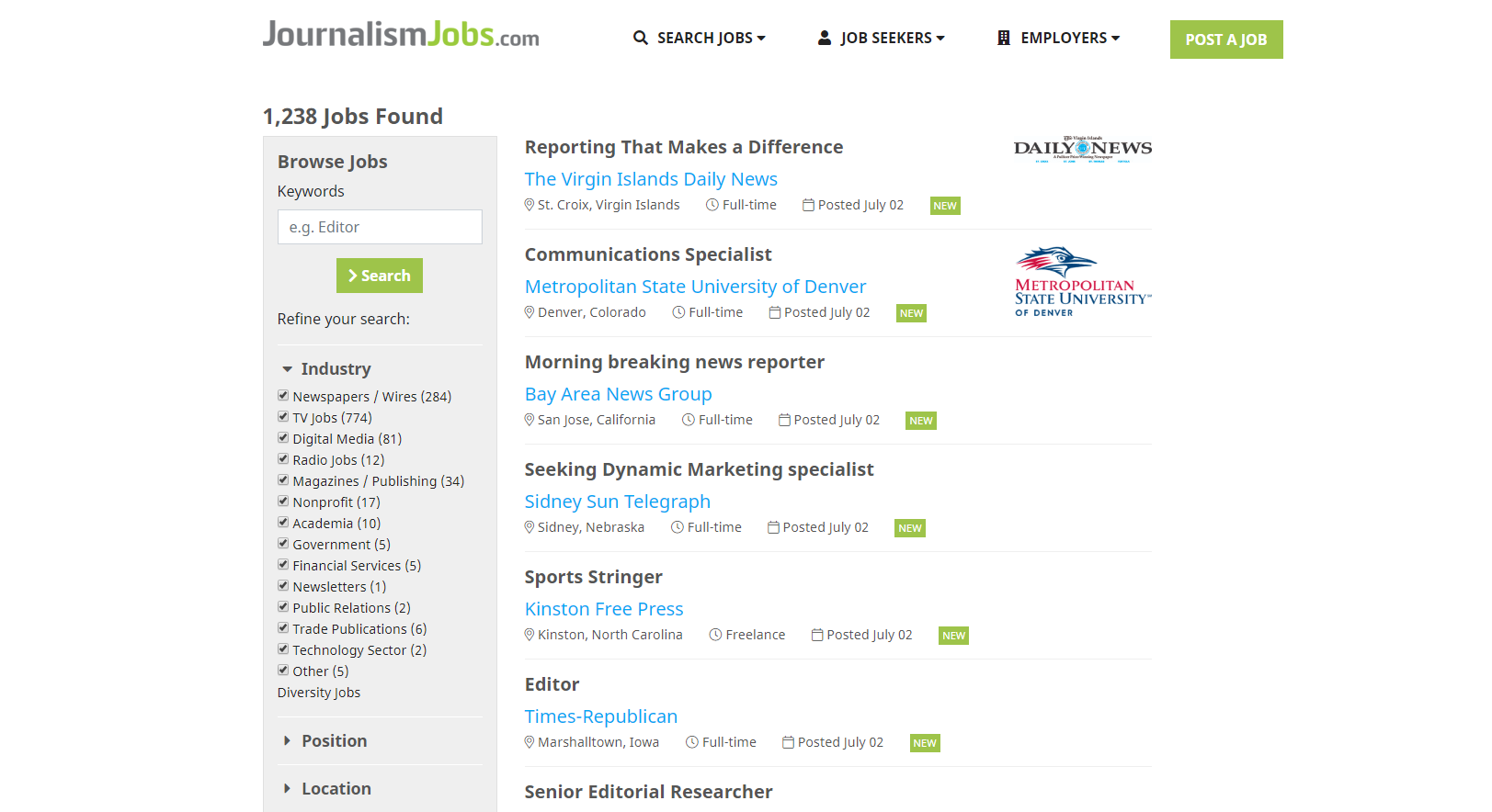 Journalism Jobs listing