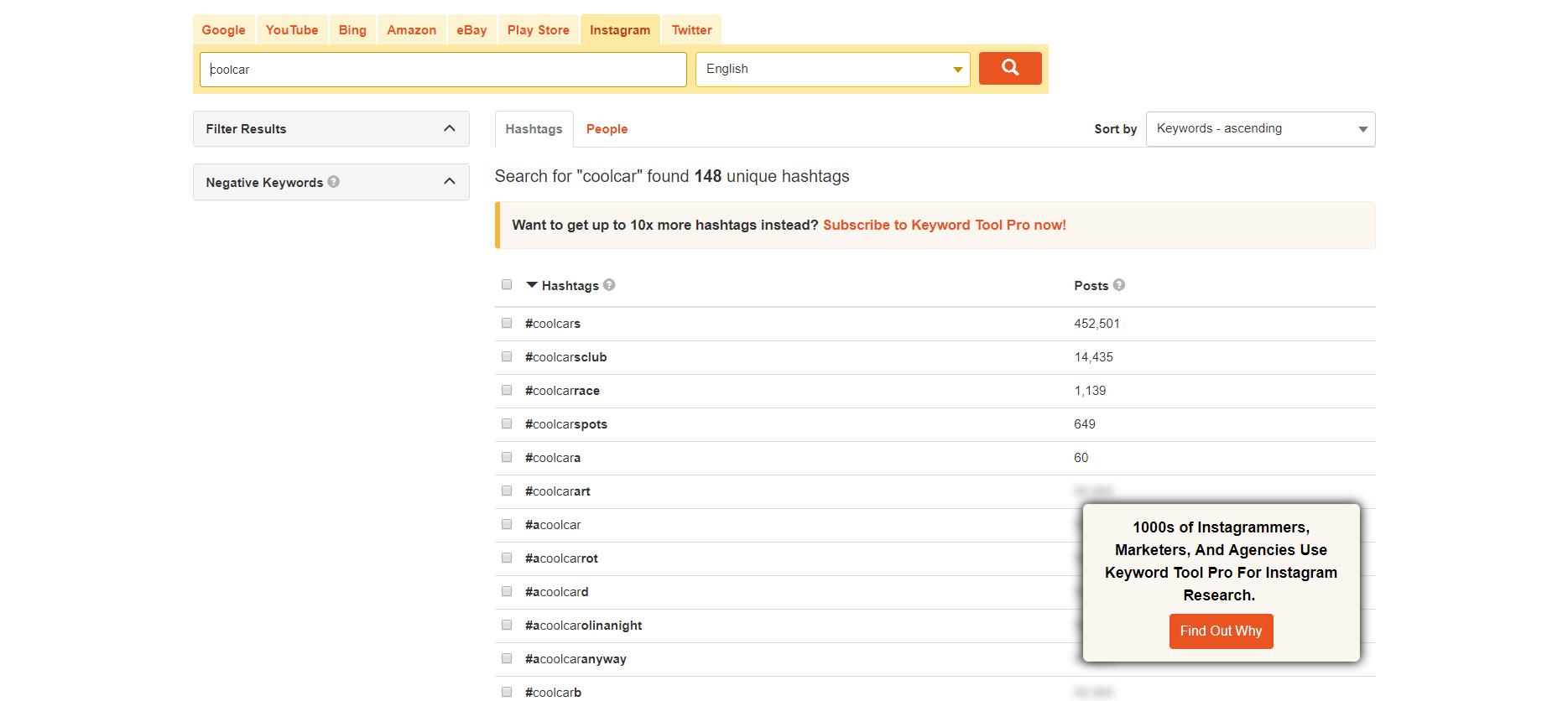 Keyword tool Instagram results