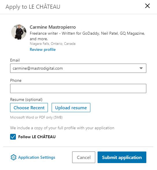 LinkedIn job application