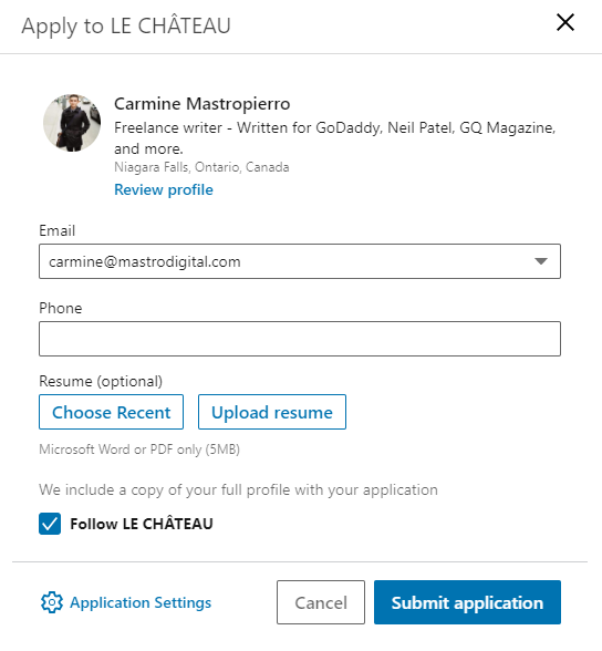 LinkedIn job application